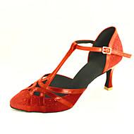 billige Moderne sko-Dame Moderne Ballett Glimtende Glitter Kunstlær Høye hæler Kustomisert hæl Rød Rosa Sølv Blå Gull Kan spesialtilpasses
