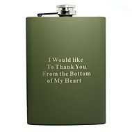 cheap Personalized Drinkware-Personalized Gift Green 8oz Stainless Steel Hip Flask