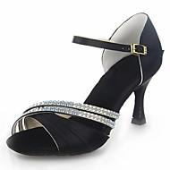 baratos Sapatilhas de Dança-Mulheres Sapatos de Dança Latina Cetim Sandália Cristais / Presilha Salto Carretel Não Personalizável Sapatos de Dança Preto / Vermelho / Prateado / Couro