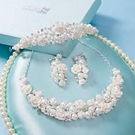 billiga Brudsmycken-koreansk strass bröllop brud pärlhalsband i tre delar krona huvudbonad