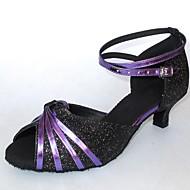 baratos Sapatilhas de Dança-Mulheres Sapatos de Dança Latina Glitter Sandália Salto Personalizado Personalizável Sapatos de Dança Multi Cor