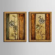 Floral/Botânico Quadros Emoldurados / Conjunto Emoldurado Wall Art,PVC Dourado Sem Cartolina de Passepartout com frame Wall Art