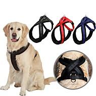犬 ハーネス 調整可能 / 引き込み式 ソリッド ナイロン ブラック レッド ブルー