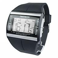 Heren Polshorloge Digitaal horloge LCD Kalender Chronograaf alarm Digitaal Rubber Band Zwart
