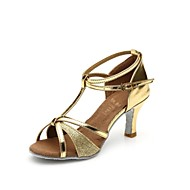 Women's Latin Ballroom Sparkling Glitter Satin Leatherette Sandal Buckle Sparkling Glitter Customized Heel Black Silver Brown Gold