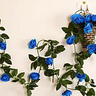 """95 """"L sarja 2 makea ruusu kukka rottinki silkki kangas kukkia sininen"""