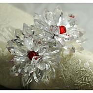 Inel floare de cristal servetel, acrilic, 1.77inch, set de 12
