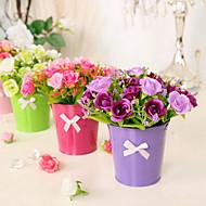 şube İpek Güller Masaüstü Çiçeği Yapay Çiçekler 15*15*16