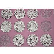 tanie Formy do ciast-cztery c koronki Podkładka silikonowa narzędzia do pieczenia ciasta wytłaczania Mata do dekoracji, pad pieczenia koronki mat dekorowanie kolor różowy