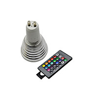 billige Spotlys med LED-3W / lm GU10 LED-spotpærer 3 leds Fjernstyrt RGB AC 220-240V