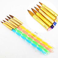 5pcs 5 colori formati 2 vie pennello gel uv professionale set chiodo acrilica pennello pittura draw