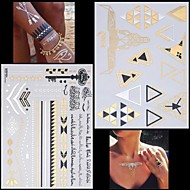 cheap Temporary Tattoos-2PCS New Gold Necklace Bracelet Alphabet Tattoos Temporary Tattoos Sticker Cuticle Tattoos Flash Tattoos