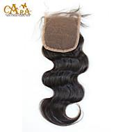 10''-20'' ブラック フロントレース ウェーブ 人毛 閉鎖 ミディアムブラウン フレンチレース 55g グラム キャップサイズ