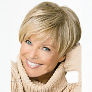 Women Synthetic Wig Short Wavy Blonde Side Part Pixie Cut With Bangs Halloween Wig Carnival Wig Costume Wig