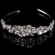 billiga Bröllops- och festsmycken-Sterlingsilver Kristall pannband Huvudbonad with Blomma 1st Bröllop Speciellt Tillfälle Hårbonad