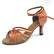 baratos Sapatilhas de Dança-Mulheres Sapatos de Dança Latina Cetim Sandália Pedrarias / Cristais Salto Personalizado Personalizável Sapatos de Dança Bronzeado