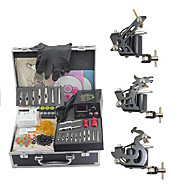 cheap Discount Tattoo Kits-Tattoo Machine Professional Tattoo Kit 3 steel machine liner & shader High Quality Mini power supply 2 x iron grip 2 x aluminum grip 50