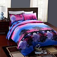 preiswerte Bettbezüge-Bettbezug-Sets 3D 4 Stück Polyester / Baumwolle Reaktivdruck Polyester / Baumwolle 4-teilig (1 Bettbezug, 1 Bettlaken, 2 Kissenbezüge)