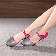 billige Moderne sko-Dame Moderne sko Paljett / Semsket lær Høye hæler Spenne Kubansk hæl Kan ikke spesialtilpasses Dansesko Fuksia / Lilla / Kongeblå