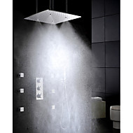Chrome Thermostatic Bathroom Shower Faucet Set, Brushed Atomizing And Rainfall Shower Head With Spa Massage Spray Jet
