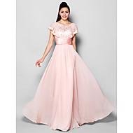 A-linje Høj halset Gulvlang Chiffon Formel aften Kjole med Krystaldetaljering Blonde Ruche ved TS Couture®