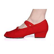 baratos Sapatilhas de Dança-Mulheres Sapatilhas de Balé Lona Salto / Meia Solas Salto Robusto Personalizável Sapatos de Dança Preto / Vermelho / Rosa / Interior