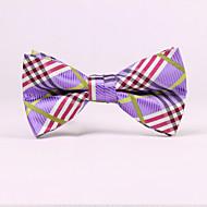 olcso -férfi párt / esti esküvői formális lila kockás poliészter nyakkendő