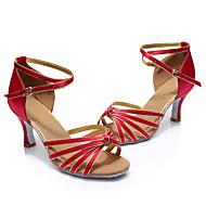 baratos Sapatilhas de Dança-Mulheres Sapatos de Dança Latina / Dança de Salão Seda Sandália Presilha / Cadarço de Borracha Salto Personalizado Personalizável Sapatos