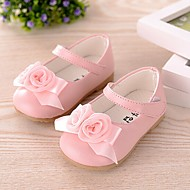 cheap Baby Shoes-Baby Girls' Shoes Leatherette Spring Summer Fall Flower Girl Shoes First Walkers Mary Jane Comfort Flats Bowknot for Casual White Pink