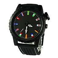 Masculino Relógio de Moda Quartzo Silicone Banda Preta Branco Preto