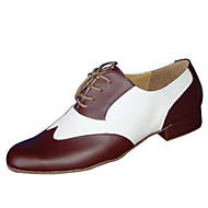 cheap Customized Dance Shoes-Men's Swing Shoes Ballroom Leather Leatherette Oxford Heel Low Heel Black and White Brown Customizable