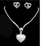 Kvast Smykkesæt - Kvadratisk Zirconium Hjerte, Kærlighed Fest, Mode Omfatte Hvid Til Fest Speciel Lejlighed Jubilæum / Øreringe / Halskæder