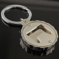 Stainless Steel Beer Bottle Cap Cover Bottle Opener with Key Chain Ring Keyring Organizer Holder