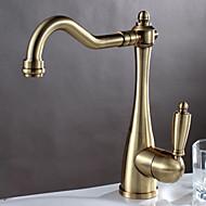 cheap Kitchen Faucets-Art Deco/Retro Bar/Prep Deck Mounted Ceramic Valve One Hole Single Handle One Hole Antique Bronze, Kitchen faucet