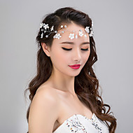 cheap Wedding Headpieces-Chiffon Imitation Pearl Lace Headbands Flowers Head Chain Wreaths 1 Wedding Special Occasion Casual Outdoor Headpiece