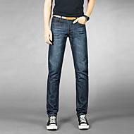 Homens Casual Cintura Média Micro-Elástica Chinos Calças, Algodão Poliéster Primavera Outono Sólido