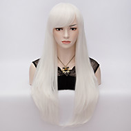 Women Synthetic Wig Very Long Straight White Halloween Wig Carnival Wig Costume Wig