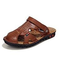 Miehet kengät Aitoa nahkaa Tekonahka Kevät Kesä Comfort Sandaalit varten Kausaliteetti Musta Ruskea Khaki