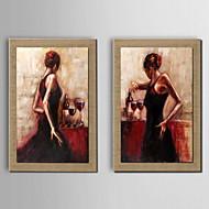 billige Innrammet kunst-Håndmalte Mennesker Vannrett, Tradisjonell Hang malte oljemaleri Hjem Dekor Tre Paneler