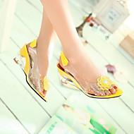 baratos Sapatos Femininos-Mulheres Sapatos Courino Primavera / Verão Heel translúcido / Salto Plataforma Pérolas Amarelo / Vermelho / Azul