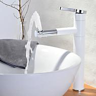 billige Rabatt Kraner-Moderne Bolleservant Roterbar Keramisk Ventil Et Hull Enkelt Håndtak Et Hull Maleri, Baderom Sink Tappekran