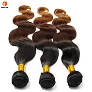 人間の髪編む ユーラシアンヘア ナチュラルウェーブ 3個 ヘア織り