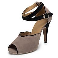 baratos Sapatilhas de Dança-Mulheres Sapatos de Dança Latina / Sapatos de Jazz / Sapatos de Salsa Flocagem Salto Salto Agulha Não Personalizável Sapatos de Dança Preto e Vermelho / Cinza-Acastanhado / Verde / Profissional