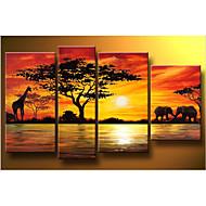 Χαμηλού Κόστους Artist - Hook Kong-ζωγραφισμένα στο χέρι σύγχρονη αφηρημένη καμηλοπάρδαλη ελεφάντων ηλιοβασίλεμα Αφρικανική ελαιογραφία τοπίο 4τεμ καμβά / που κανένα πλαίσιο