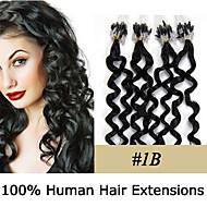 Microring haarextension Extensions van echt haar Golvend Echt haar # 27 Donker Kastanjebruin Blonde
