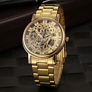 billige Mekaniske Ure-Herre Armbåndsur Hul Indgravering Rustfrit stål Bånd Vedhæng Guld