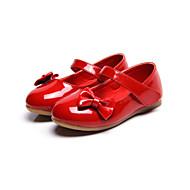 Jente Flate sko Komfort Kunstlær Vår Høst Avslappet Formell Komfort Sløyfe Magisk teip Flat hæl Hvit Rød Rosa Flat