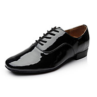 "Men's Modern Ballroom Leatherette Heel Lace-up Low Heel Black White Under 1"" Non Customizable"