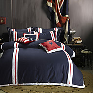 cheap Contemporary Duvet Covers-H&C 100% Cotton 900TC Duvet Cover Set 4-Piece White, Red And Blue Solid Color Joint  OT2-006