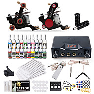 billiga Lågpris Tattoo Kit-Tattoo Machine Startkit - 2 pcs Tatueringsmaskiner med 20 x 5 ml tatueringsfärger, Professionell LCD strömförsörjning No case 2 x